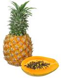 Pineapple and Papaya are great for digestion by breaking down proteins quicker.